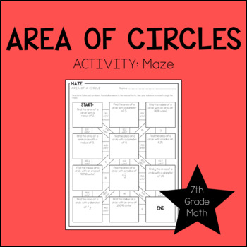 7th Grade Math Area of a Circle Activity