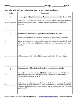 7th Grade Math Assessment with Learning Goals & Scales - EDITABLE