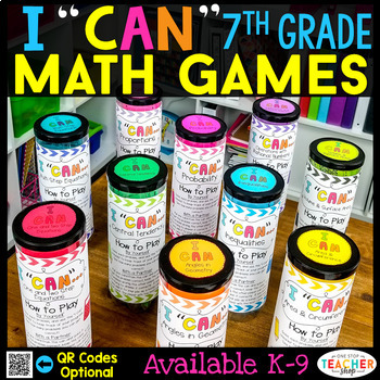 7th Grade Math BUNDLE | Spiral Review, Games & Assessments for the ENTIRE YEAR