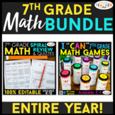7th Grade Math BUNDLE | Spiral Review, Games & Quizzes for