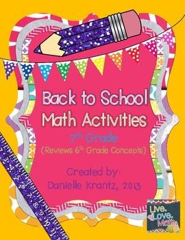 7th Grade Math Back to School Activities