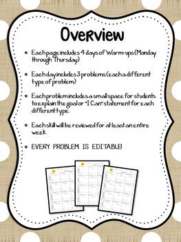 7th Grade Math Basic Skills Warm-ups