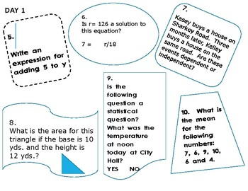 7th Grade Math Beginning of the Year Review