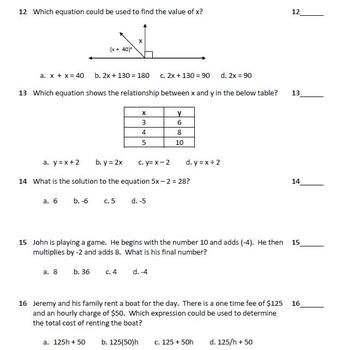7th Grade Math Benchmark - 30 Questions - Common Core