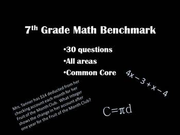 7th Grade Math Benchmark - 30 Questions - Common Core