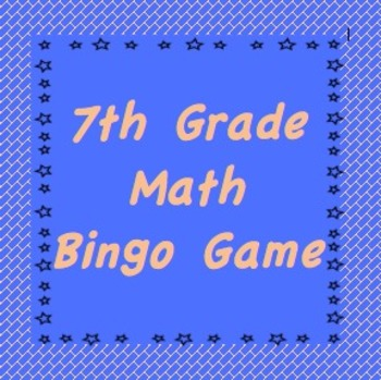 This is an image of Selective 7th Grade Math Bingo Printable
