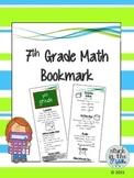 7th Grade Math Bookmark