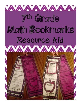 7th Grade Math Bookmark- Resource & Fact Aid