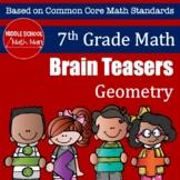 7th Grade Math Brain Teasers Activity - Geometry