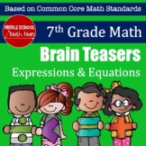 7th Grade Math Brain Teasers - Expressions and Equations Activity