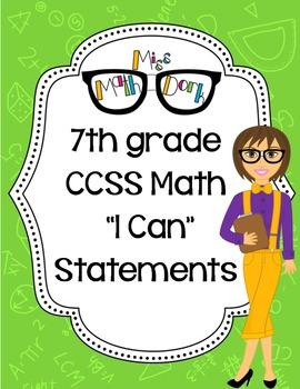 "7th Grade Math CCSS ""I Can"" Statements"