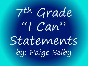 "7th Grade Math CCSS ""I Can"" Statements (Blue)"