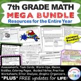 7th Grade Math COMMON CORE BUNDLE Assessments, Warm-Ups, T