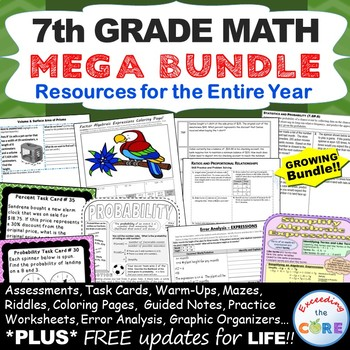 7th Grade Math COMMON CORE BUNDLE Assessments, Warm-Ups, Task Cards, Worksheets