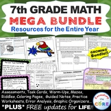 7th Grade Math COMMON CORE BUNDLE Assessments, Warm-Ups, T
