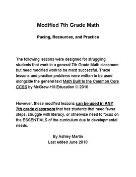 7th Grade Math Ch 2 Percents Modified Lessons 1-3
