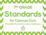 7th Grade Math Chevron Common Core Standards Posters