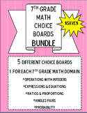 7th Grade Math Choice Boards BUNDLE