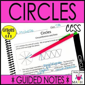Circle Circumference and Area  Notes and Activities Unit Bundle