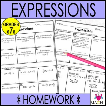 7th Grade Math Simplifying Expressions Guided Notes and Activities Bundle