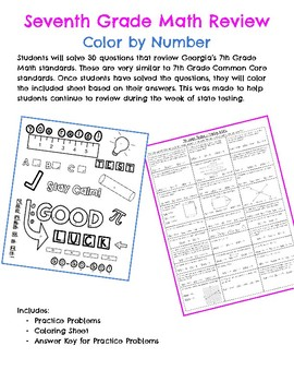 7th Grade Math Coloring Review