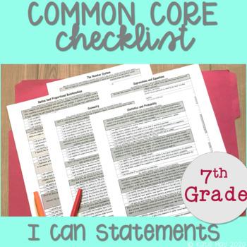 7th Grade Math Common Core Aligned I Can Statements Checklist