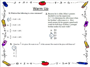 Warm Ups for the Year - 7th Grade Math