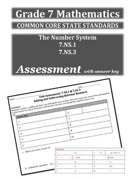 7th Grade Math Common Core Assessment(The Number System)