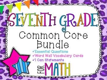 7th Grade Math Common Core Bundle! Everything You Need! *Cheetah Print*