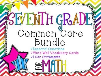 7th Grade Math Common Core Bundle! Everything You Need! *Rainbow Chevron*