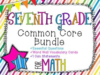 7th Grade Math Common Core Bundle! Everything You Need! *Rainbow Stripes*