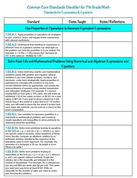 7th Grade Math Common Core Checklist