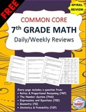 7th Grade Math Common Core  Daily / Weekly SPIRAL REVIEW {2 Weeks FREE}