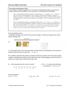 7th Grade Math Common Core Expressions and Equations Worksheet Series