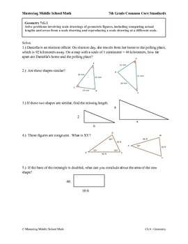 7th Grade Math Common Core Geometry Worksheet Series