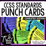 7th Grade Math Common Core I Can Statement Punch Cards