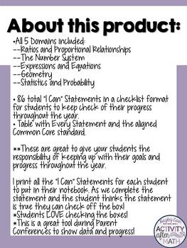 7th Grade Math Common Core I Can Statement Student Checklist!