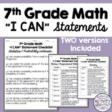 7th Grade Math Common Core I Can Statement Student Checklist