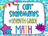 7th Grade Math Common Core *I Can Statements* Cheetah Print