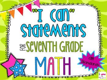 7th Grade Math Common Core *I Can Statements* Giraffe Print