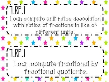 7th Grade Math Common Core *I Can Statements* Neon Stars