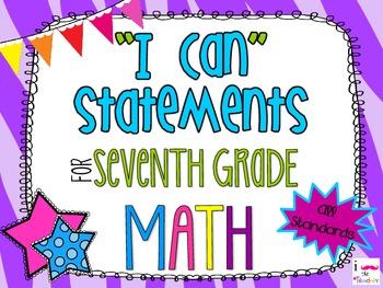 7th Grade Math Common Core *I Can Statements* Zebra Print