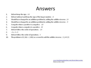 7th Grade Math Common Core - Integers - What's Wrong Positives/Negatives
