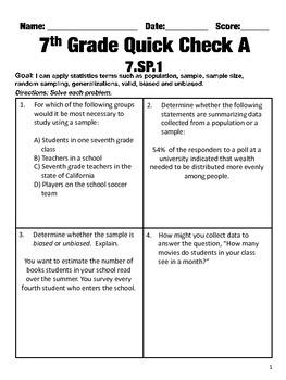 7th Grade Math Common Core Quick Check Mini Assessments (7.SP.1 - 7.SP.4)