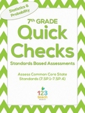 7th Grade Math Common Core Quick Check Mini Assessments (7.SP.1 - 7.SP.4)