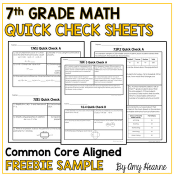 7th Grade Math Common Core Quick Check Sheets