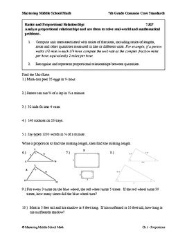 7th Grade Math Common Core Ratios Worksheet Series
