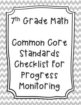 7th Grade Math Common Core Standard Checklist for Progress Monitoring