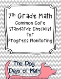 7th Grade Math Common Core Standard Checklist for Progress