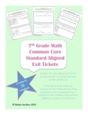 7th Grade Math Common Core Standard Exit Tickets